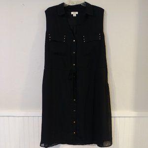 Cato Drawstring Black Dress